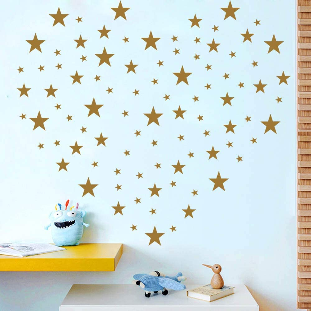 CatWallArt Stars Wall Decals Wall Stickers Removable Home Decoration Easy to Peel Stick Painted Walls Metallic Vinyl Polka Wall Decor Sticker for Baby Kids Nursery Bedroom (Gold Stars)