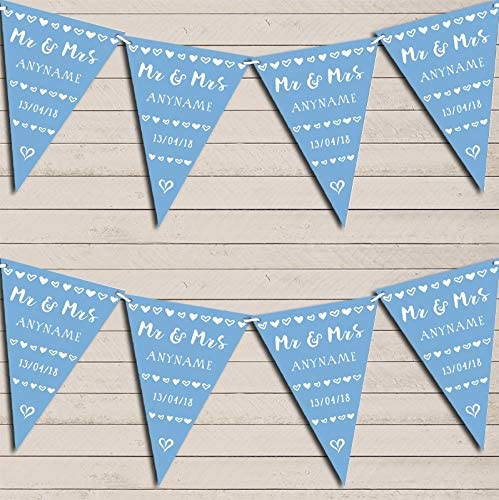 Mr & Mrs Hearts Powder Blue Wedding Day Married Bunting Garland Party Venue Decoration Party Flag Banner Garland