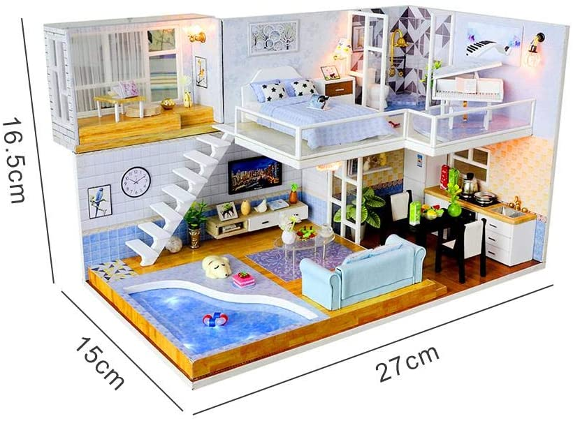 N/V Kid Toys, DIY Dollhouse Kit,Dollhouse Set,Dollhouse Miniature Named Met You with Furniture, Miniature Cabin Handmade House with Music