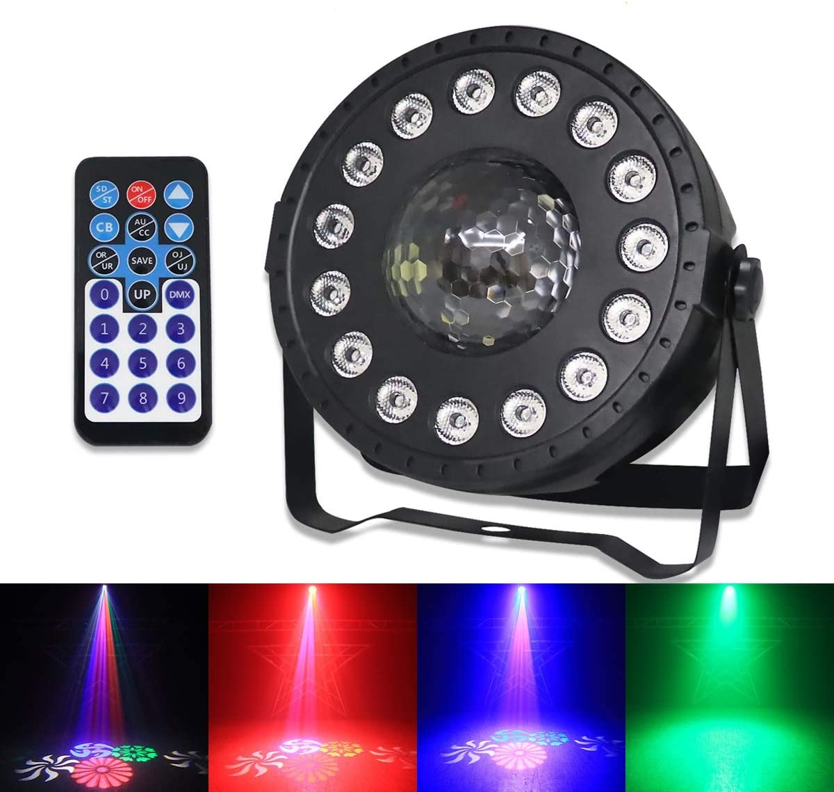 SecurityIng DMX Par Lights, 15 LED Dyeing Pattern Light 30W RGB LED DJ Light Sound Activated Stage Lights Uplighting with Remote and DMX Control for Party KTV Wedding Festival Event Birthday Church