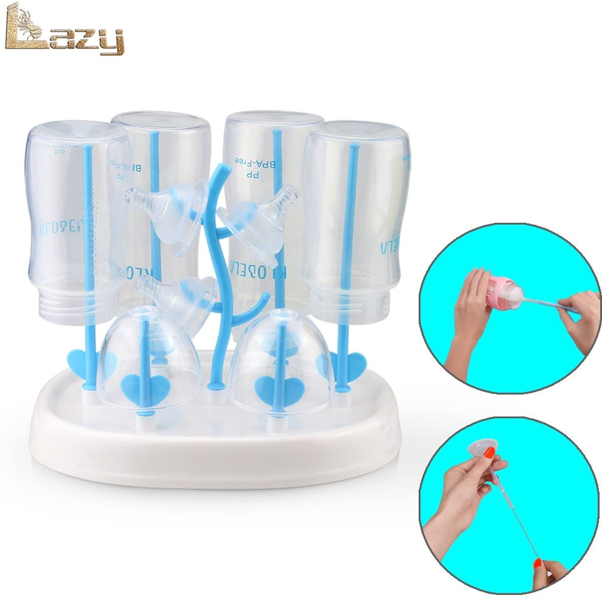Bottle drying rack,easy to clean baby bottles dryer,healthy materials,baby bottle rack(sky blue)