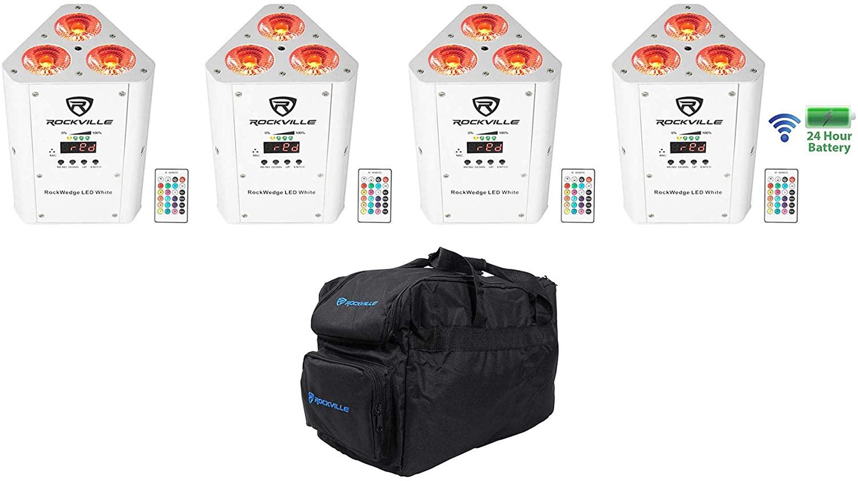 (4) Rockville RockWedge LED White RGBWA+UV Rechargeable Wireless DMX Lights+Bag