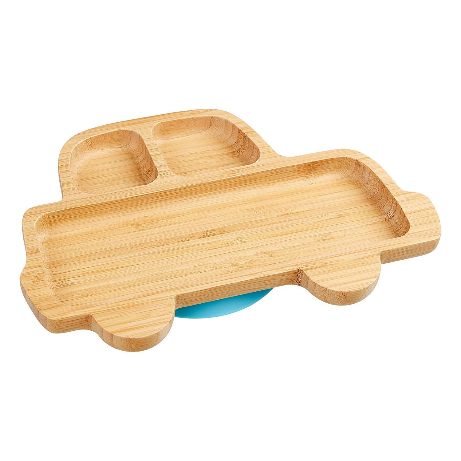 Bamboo Baby Toddler Suction Plate, Stay Put Feeding Dinner Dish (Blue)