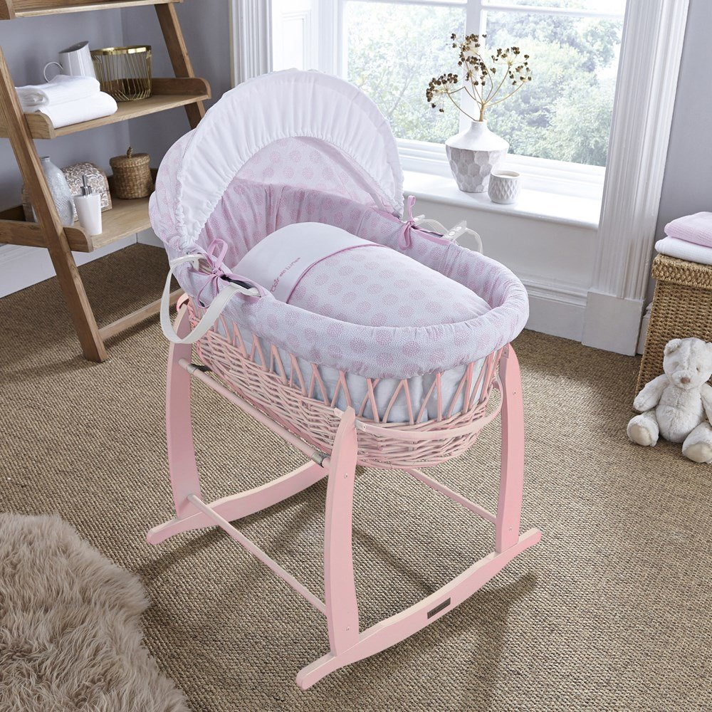 Clair de Lune Pink Speckles Pink Wicker Moses Basket- Pink