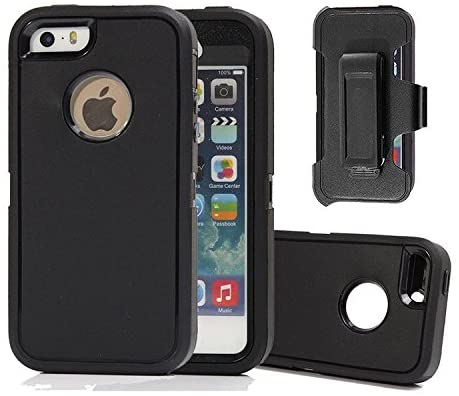 Defense Case for iPhone 5 5S / iPhone SE,[Impact Screen Protector][Heavy Duty][Drop Protection] Tough Rugged TPU Hybrid Hard Shell Case for iPhone SE 5S Black