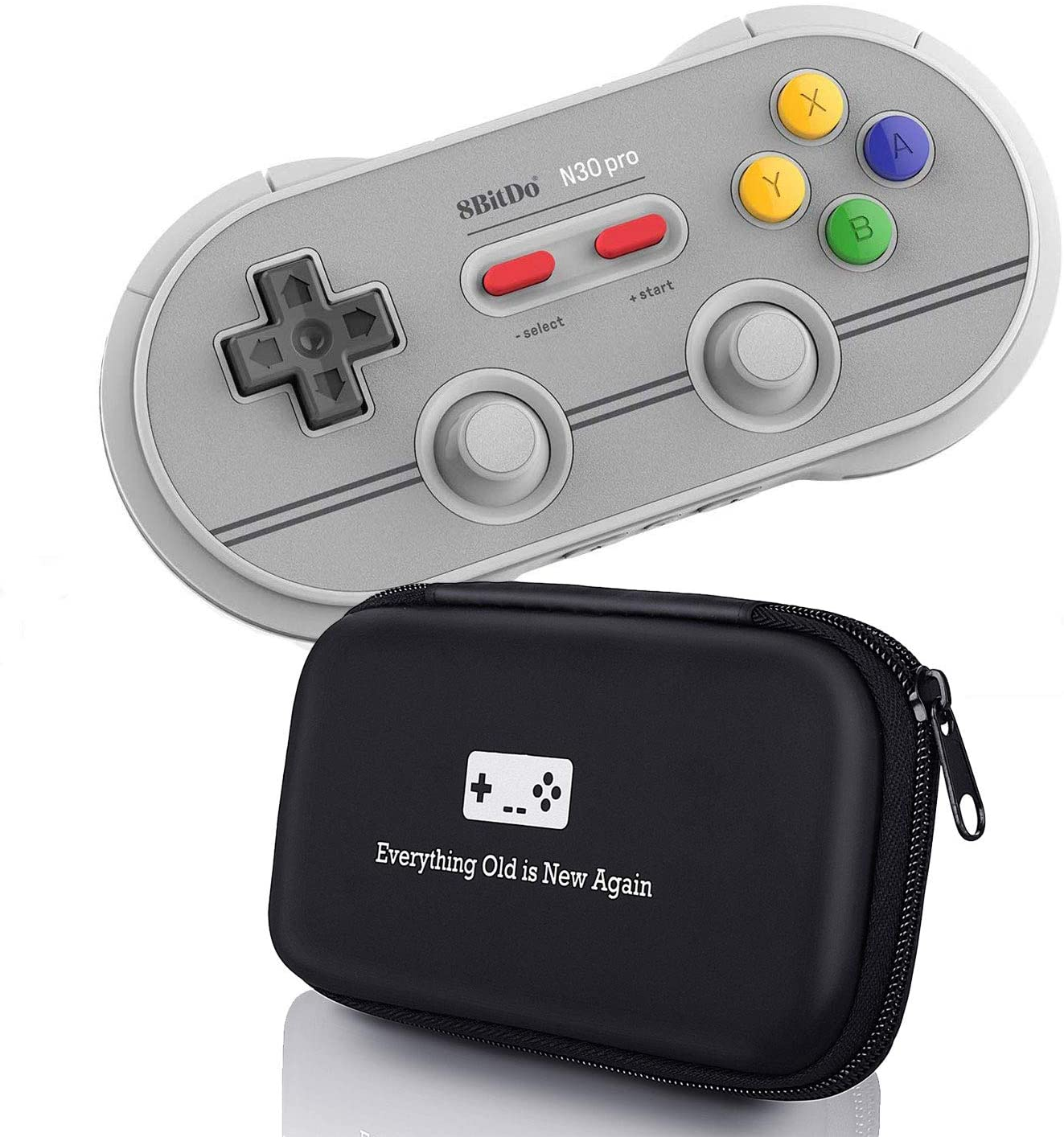 Geek Theory 8Bitdo N30 Pro 2 Controller Bundle (6 Edition) - Includes Bonus Carrying Case - Updated 2019 Version - Android/Mac/PC/Switch/NES and SNES Classic
