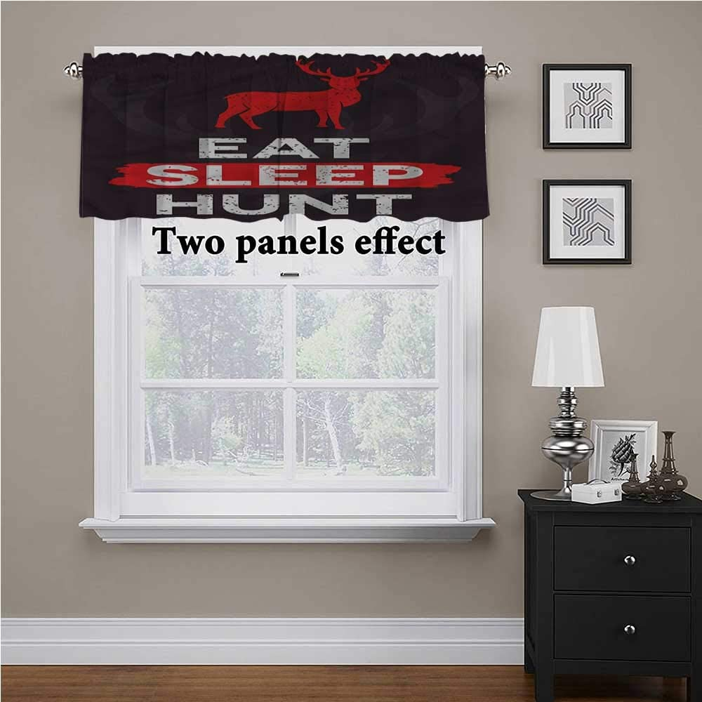 shirlyhome Hunting Bedroom Curtains Eat Sleep Hunt for Kids Room/Baby Nursery/Dormitory, 60 Inch by 18 Inch 1 Panel