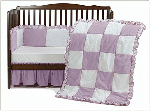 Baby Doll Bedding Gingaham/Eyelet Patchwork Crib Bedding Set, Pink, 4 Piece