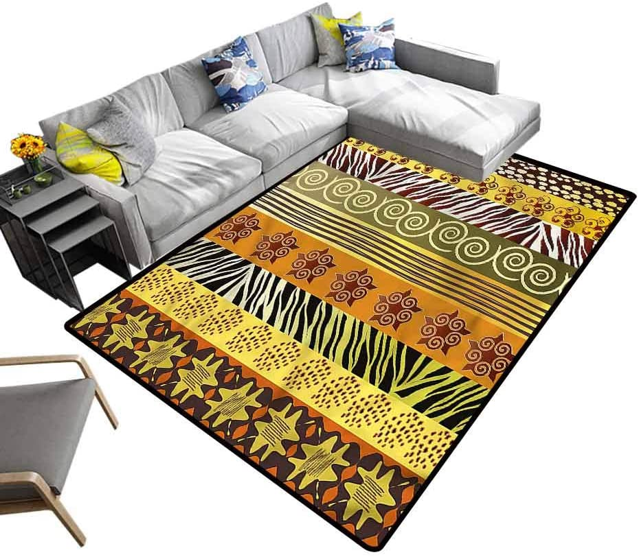 Tribal, Nursery Rugs Style Stripes Baby Floor Playmats Crawling Mat for Floors, Bed and Living Room, 4'x 6'