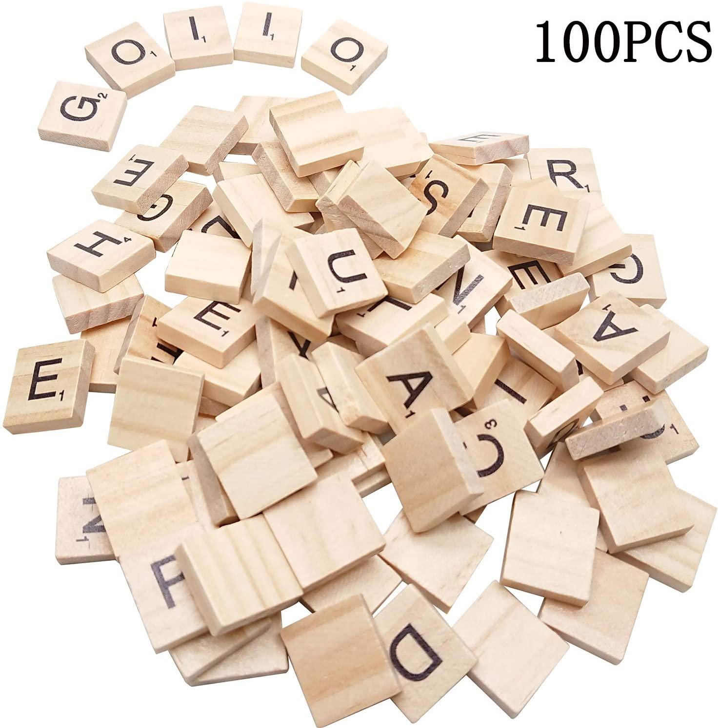 Goiio 100PCS Scrabble Letters, DIY Making Scrabble Crossword Game,Wood Scrabble Tiles