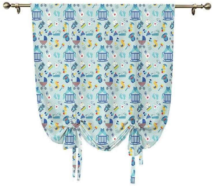 Baby Small Window Curtain,Newborn Sleep Crescent Moon Pacifier Nursery Star Polka Dots Image Decorative Thermal Insulated Rod Pocket Curtain,31x55 Inch,for Home Windows Pale and Violet Blue Yellow