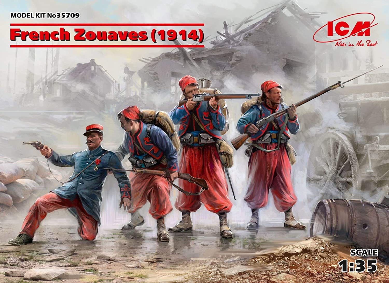 ICM 35709-1/35 French Zouaves (1914) (4 Figures) (100% New Models) Plastic kit