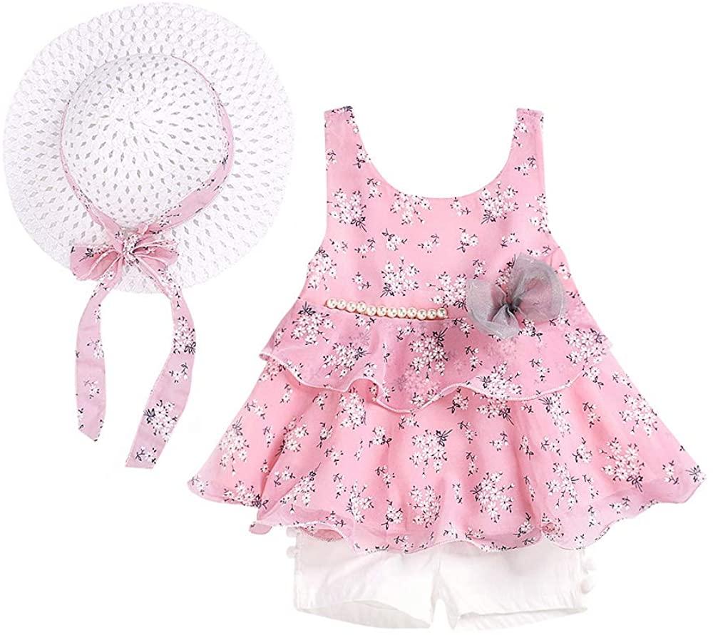 3PCS Little Girls Summer Outfits Clothes Floral Vest T-Shirt Tops +Shorts Pants+Sun Hat Set