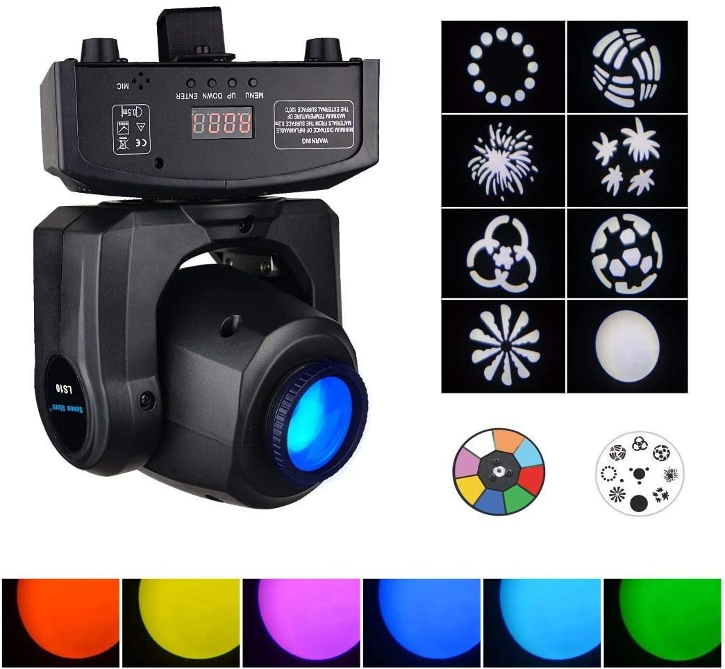 HWZSZSH Moving Heads DJ Lighting, Pattern Stage Light, 30W 8 Colors LED Spot Lighting,Effect Wash Lights for Disco Club Wedding Party Sound/Auto/DMX512/Master-slave Controlled