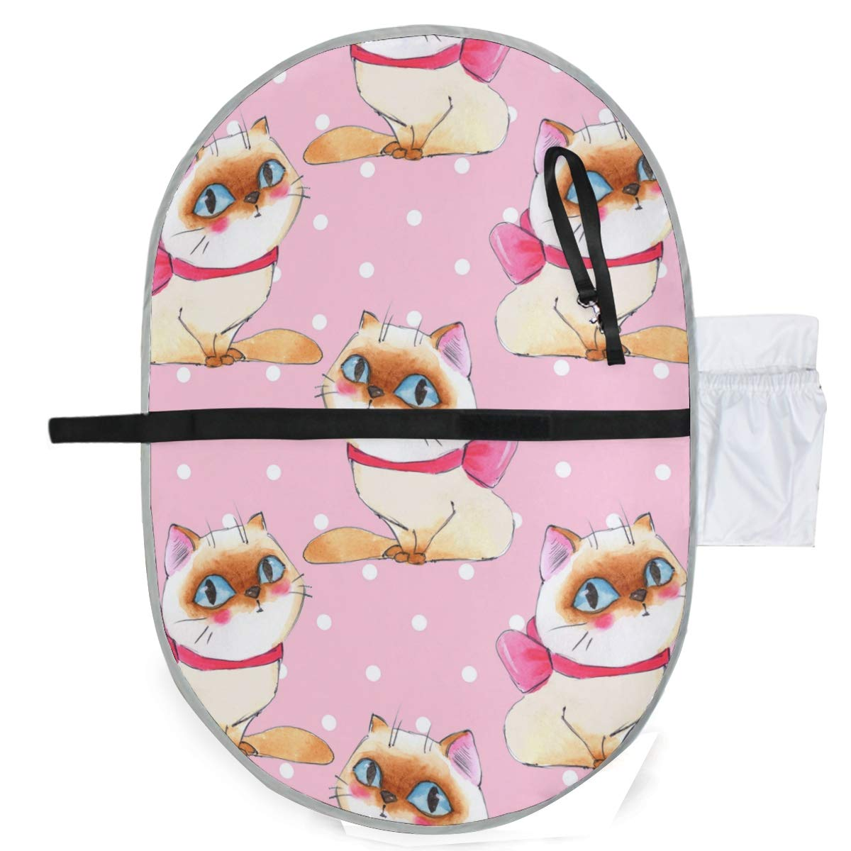 Waterproof Washable Baby Diaper Changing Pad Mat Watercolor Cats Portable and Foldable Infant Large Nappy Mat 27x20 inch