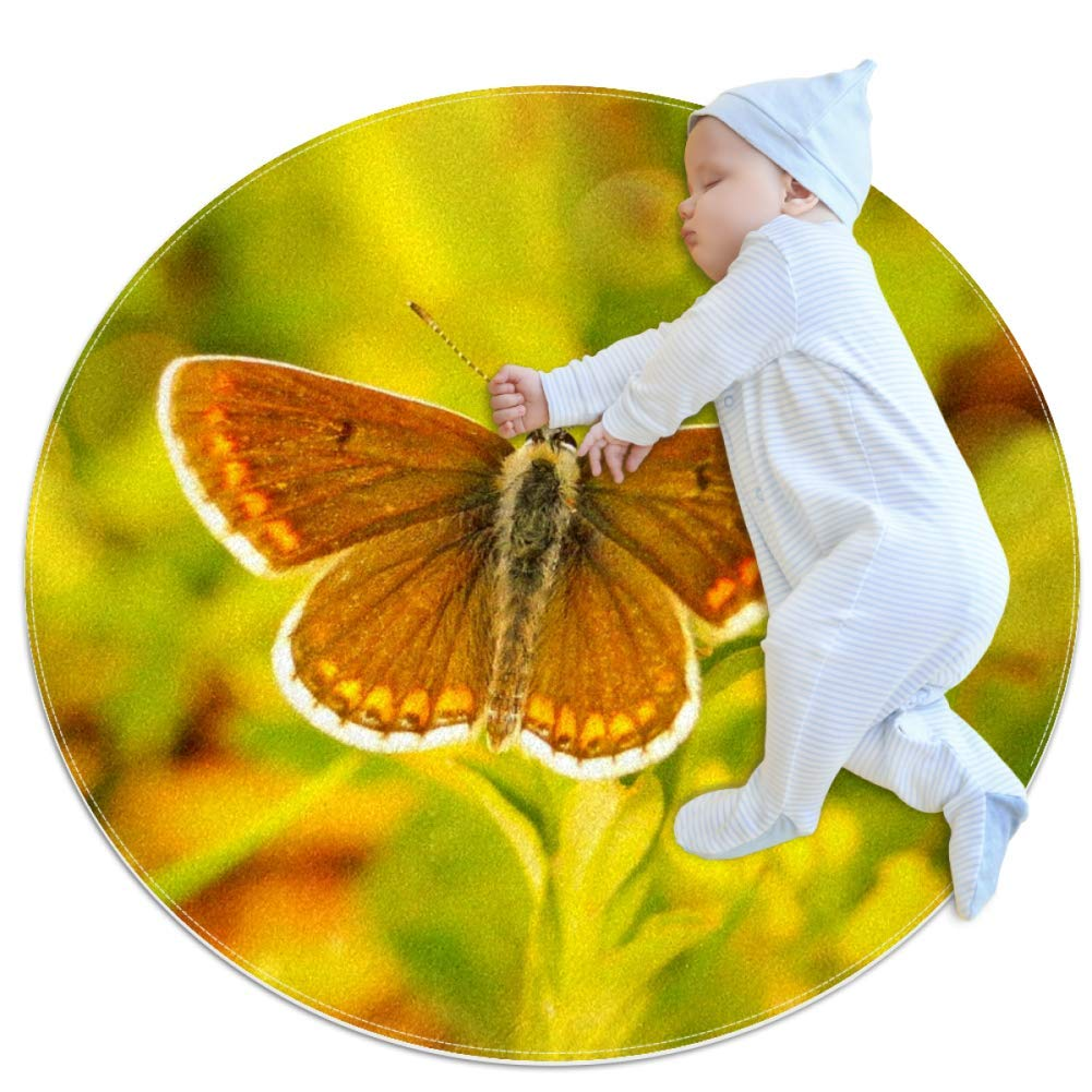 Baby Rug Yellow Insect Butterfly Round Tent Rug Super Soft Nursery Rug Anti-Slip for Infants Toddlers 31.5x31.5in