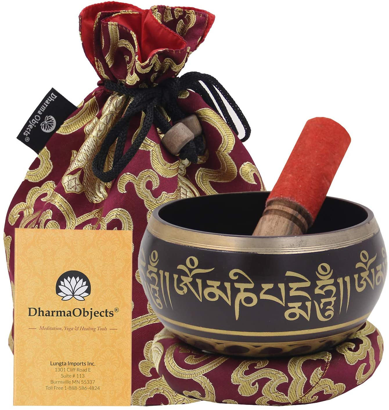 DharmaObjects Large ~ Tibetan OM MANI Singing Bowl Set ~ With Mallet, Brocade Cushion & Carry Bag ~ For Meditation, Chakra Healing, Prayer, Yoga (Purple)
