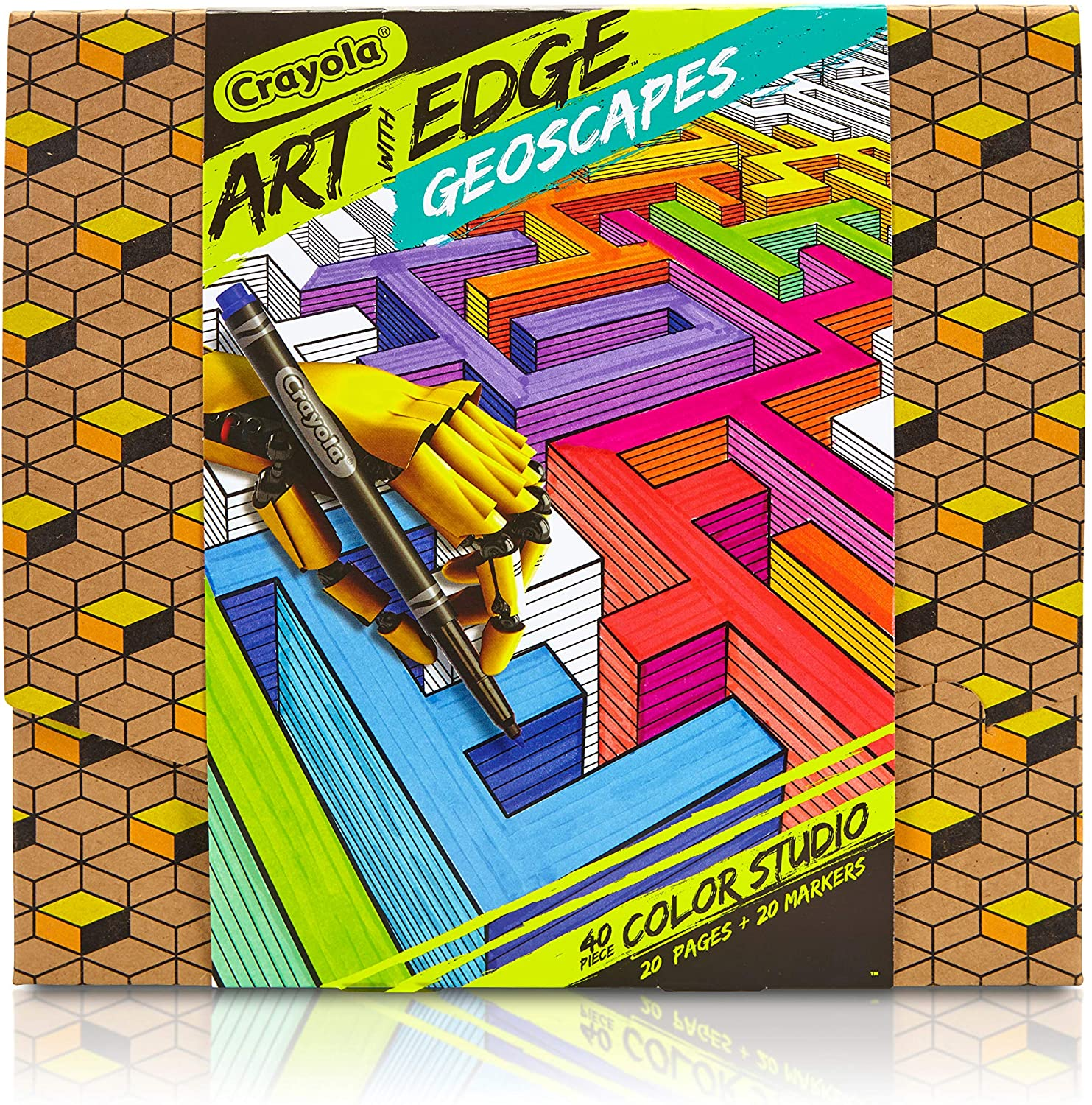 Crayola Art with Edge Coloring Set, Geometric Coloring Pages, 20 Pages (04-0029)