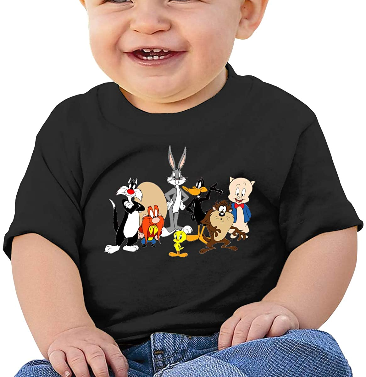 Wedday Baby T-Shirt Cute Infant Home Looney Tunes Graphic Toddler T Boys and Girls Soft Short Sleeve Cotton Kids Shirt