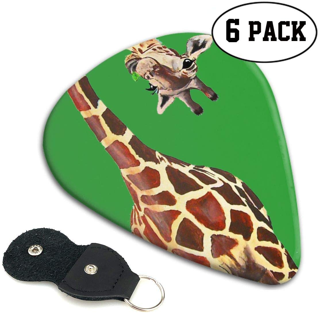 Xzyauza Long Deer Celluloid Guitar Picks Premium Picks 6 Pack for Guitar,Mandolin,and Bass 0.46mm,0.71mm,0.96mm Optional with PU Leather Pick Holder
