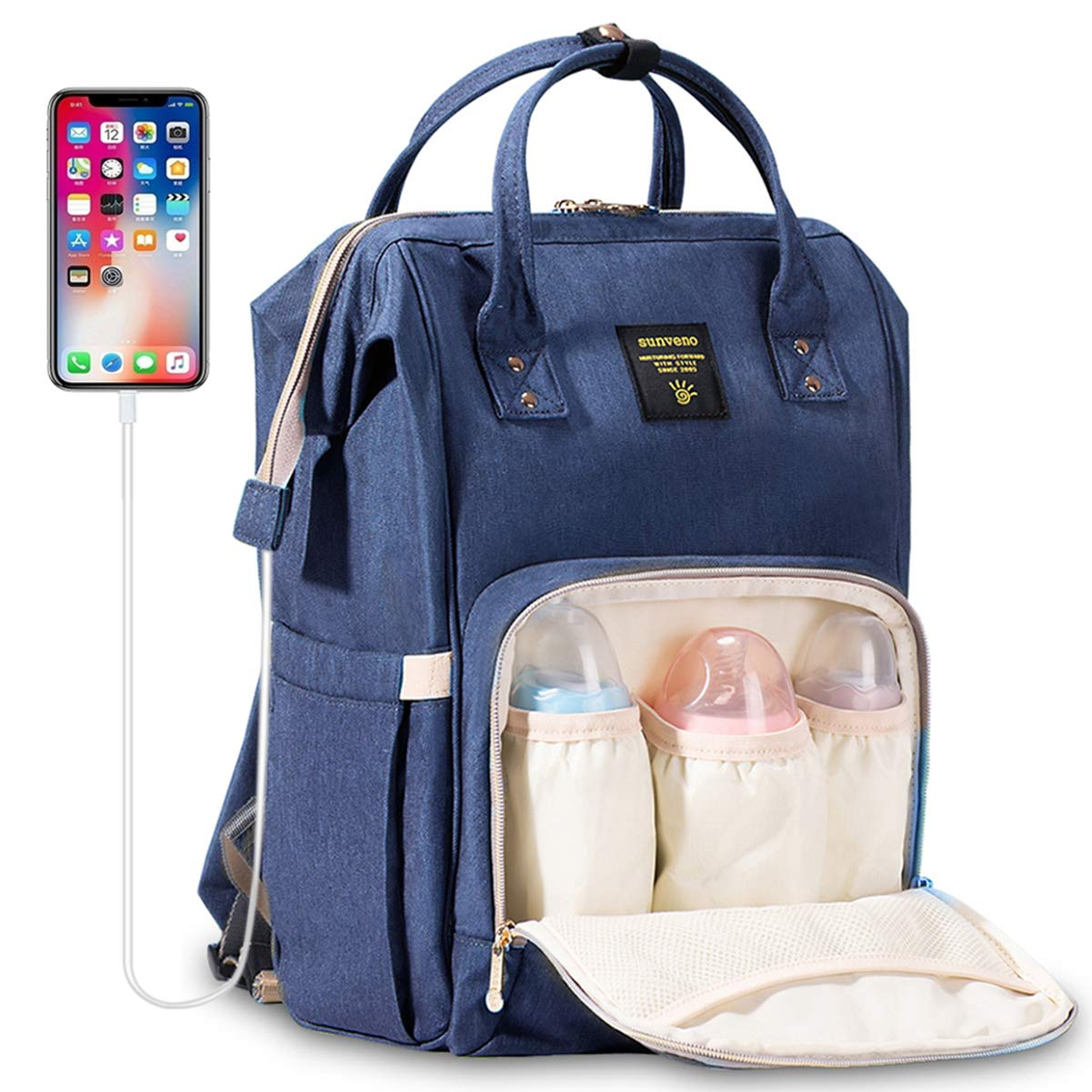 Diaper Bag Backpack SUNVENO Multi-Function Waterproof Travel Backpack Nappy Bags for Baby Care, Large Capacity