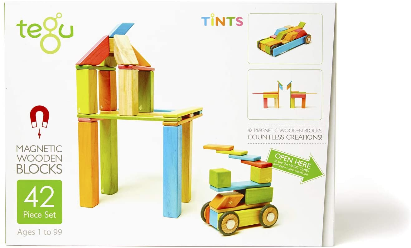 42 Piece Tegu Magnetic Wooden Block Set, Tints