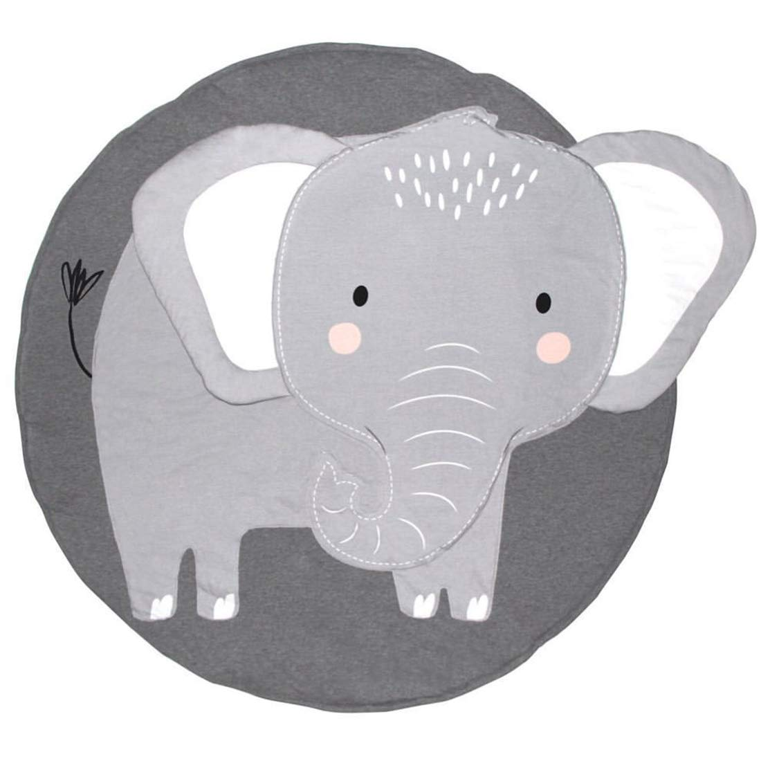Jialisen Baby Playmats Round Cotton Nursery Rug Baby Crawling Mat Game Blanket Animals Mats Soft Carpet Kids Rug for Kids Room Home Decoration 35.5 x35.5 Inches (Elephant)