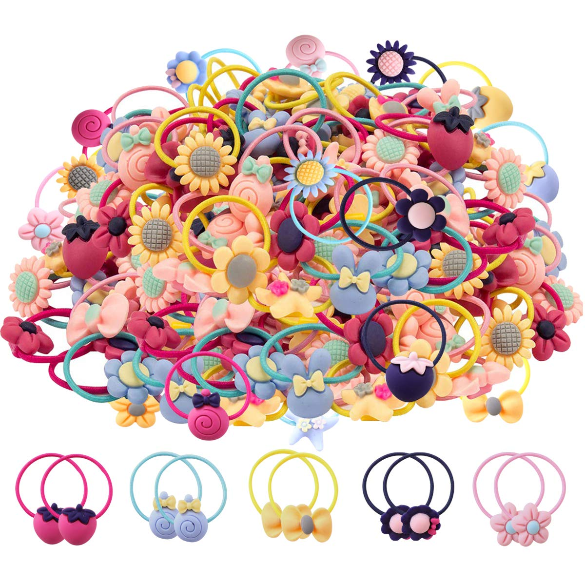 WillingTee 100pcs (50 Pairs) Mix Colors Girls Elastic Hair Ties Soft Rubber Bands Hair Bands Holders Pigtails Hair Accessories for Girls Infants Toddlers Kids Teens and Children