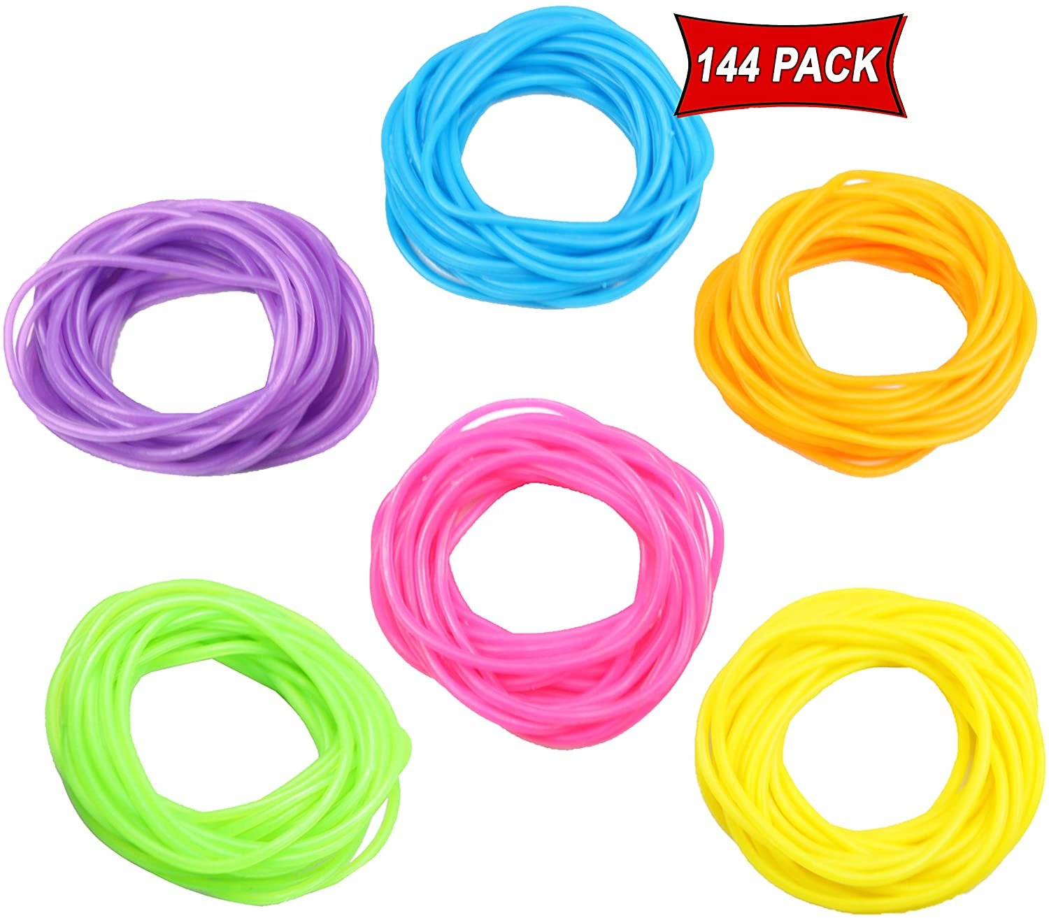 Neon Jelly Bracelets 80's Retro Style Stretchable Bracelets In Rainbow Colors For Prizes, Party Favors, Gifts, Themed Events - Assorted Bulk Pack Of 144 Bracelets