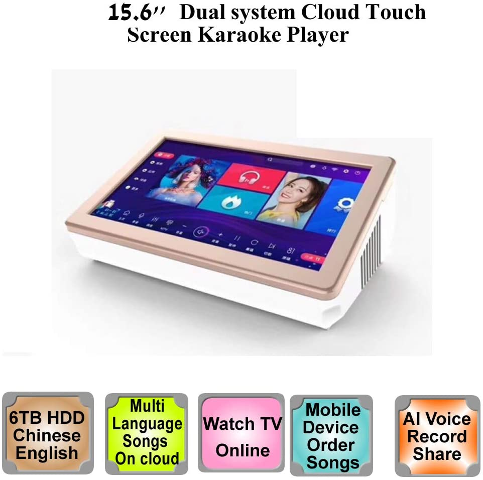 6TB HDD 130K Chinese,English Songs,15'' Touch Screen Karaoke Player,Free Cloud downloiad,Dual system,Record,Score