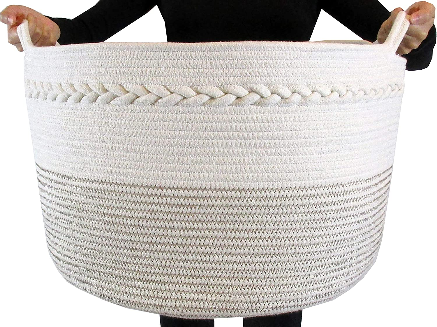 "FRONT ARCH Cotton Rope Storage Basket - Decorative Woven Basket Great for Large Laundry Basket, Blanket Basket, Laundry Hamper, Kids & Babies Toy Basket, Toy Bin, XXL 20""X 13.5"""