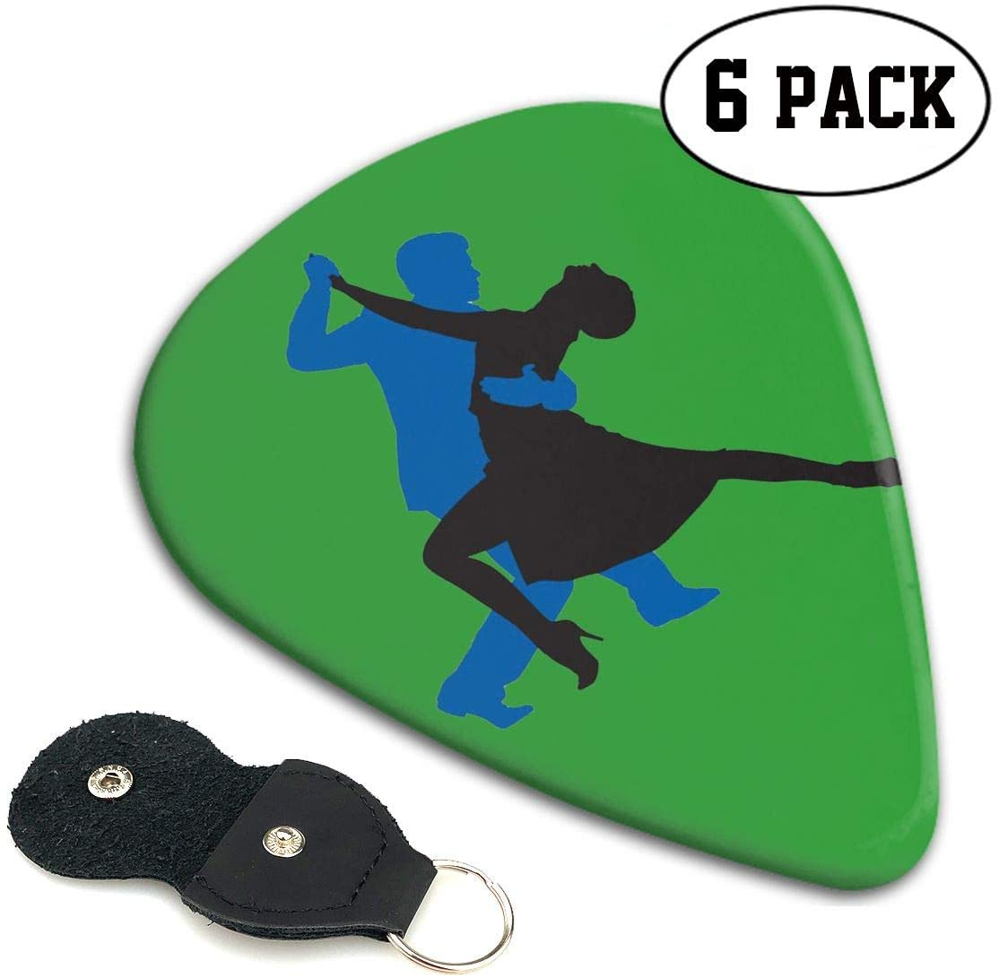 Xzyauza Tango Dancer Celluloid Guitar Picks Premium Picks 6 Pack for Guitar,Mandolin,and Bass 0.46mm, 0.71mm, 0.96mm Optional with PU Leather Pick Holder