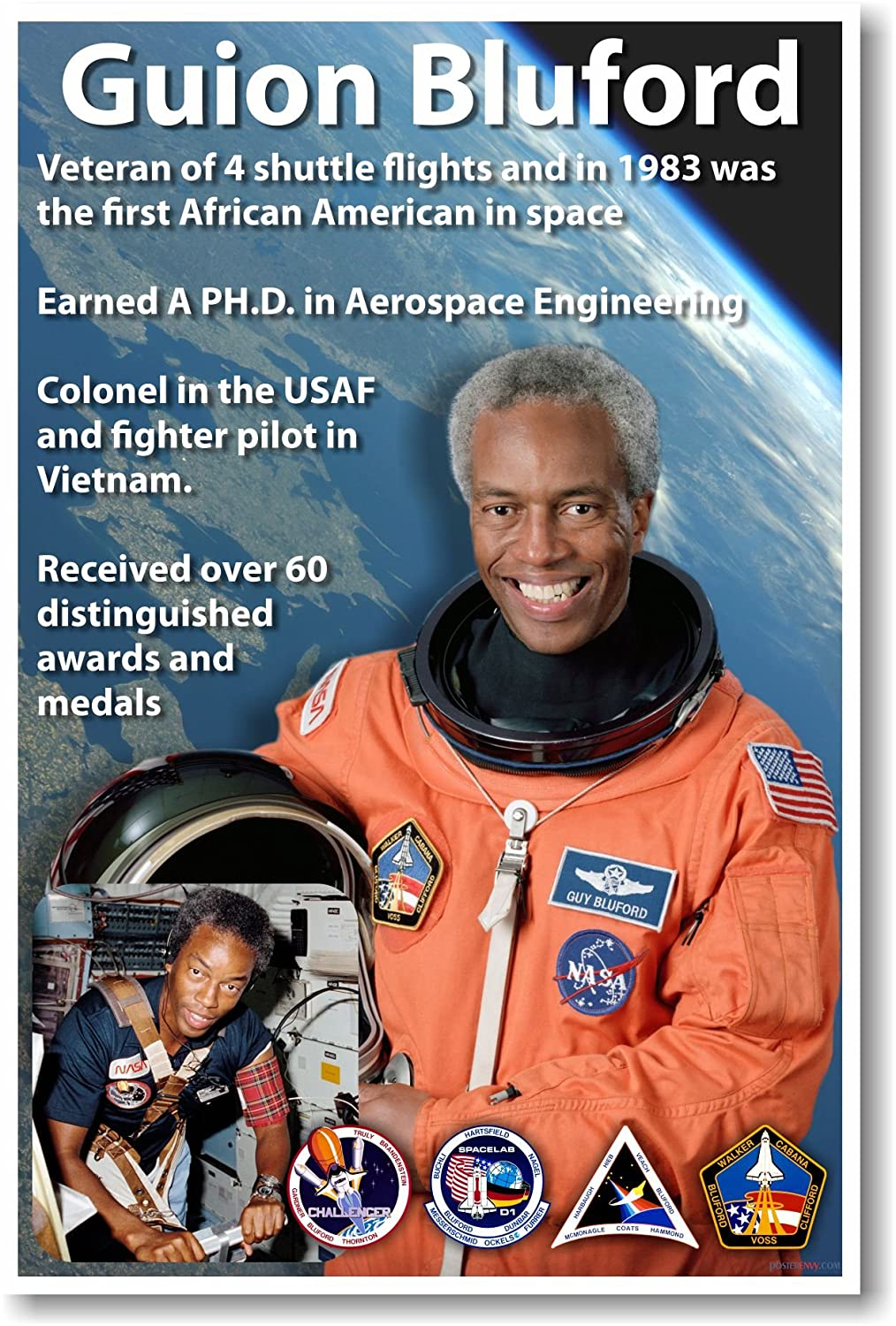 Guion Bluford - NEW African American NASA Astronaut Space Poster