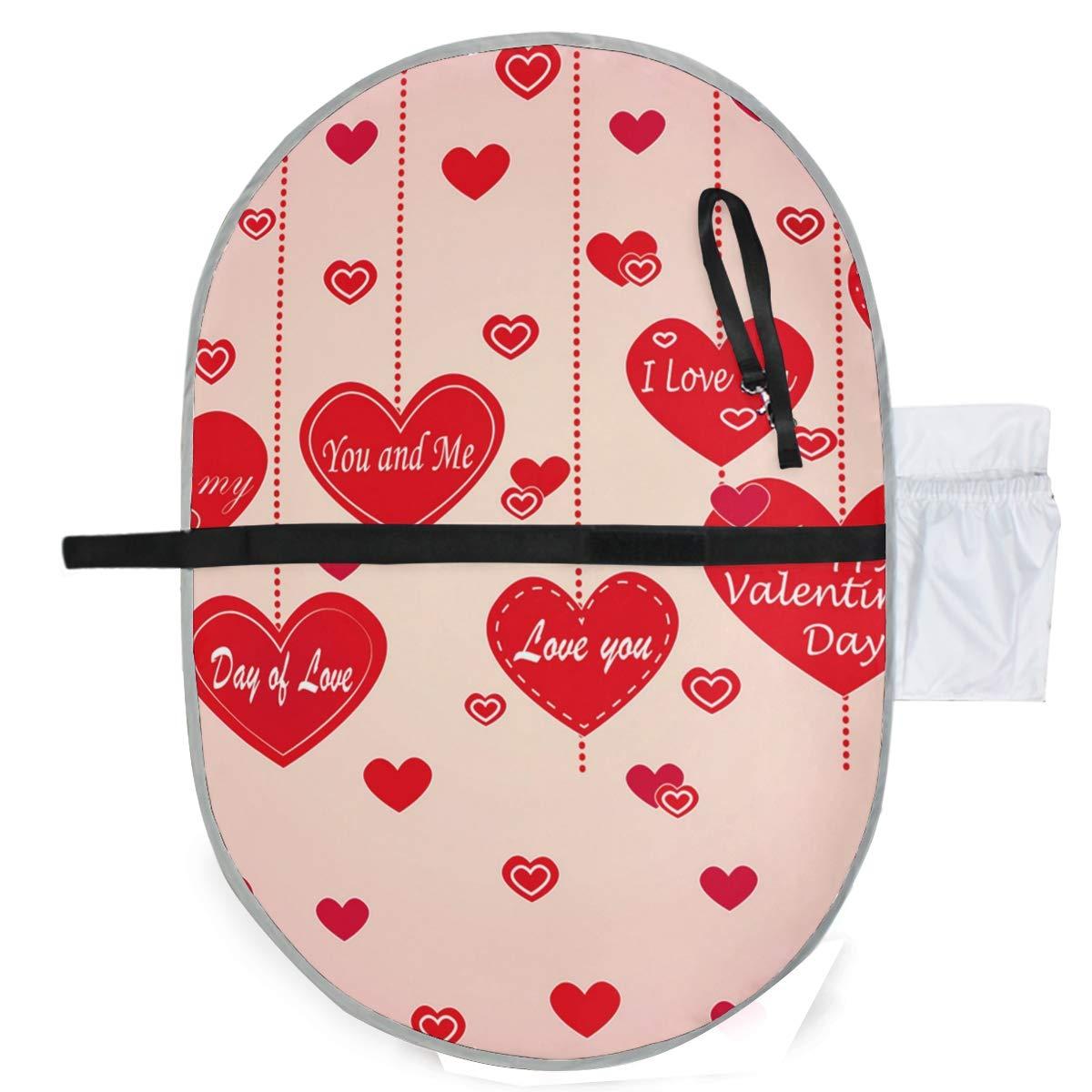 Romantic Love Valentine's Day Portable Changing Pad Waterproof Baby Travel Mat for Girl Boy Newborn