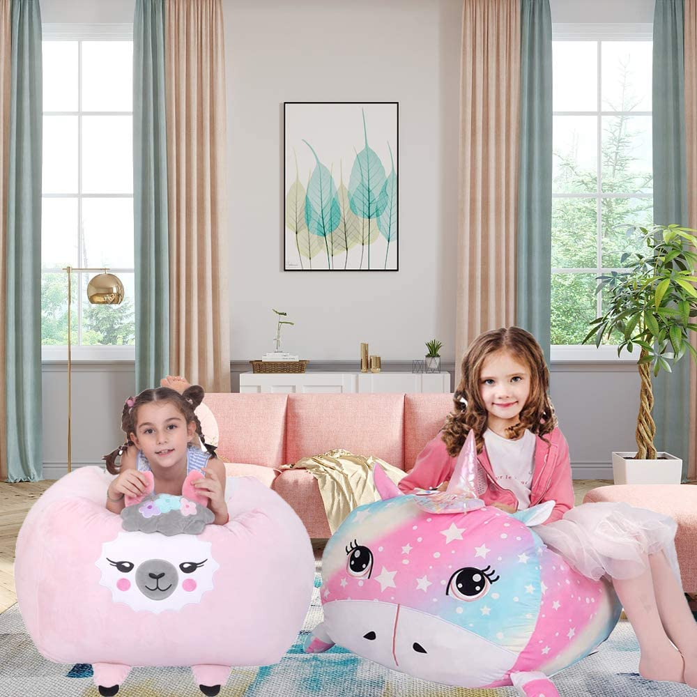 2 Pack (Rainbow Unicorn+Pink Llama) Stuffed Animal Storage Bean Bag Chair Cover for Kids (No Stuffing), Soft Velvet Plush Stuffed Animal Holder Toy Storage Unicorn Room Decor for Girls