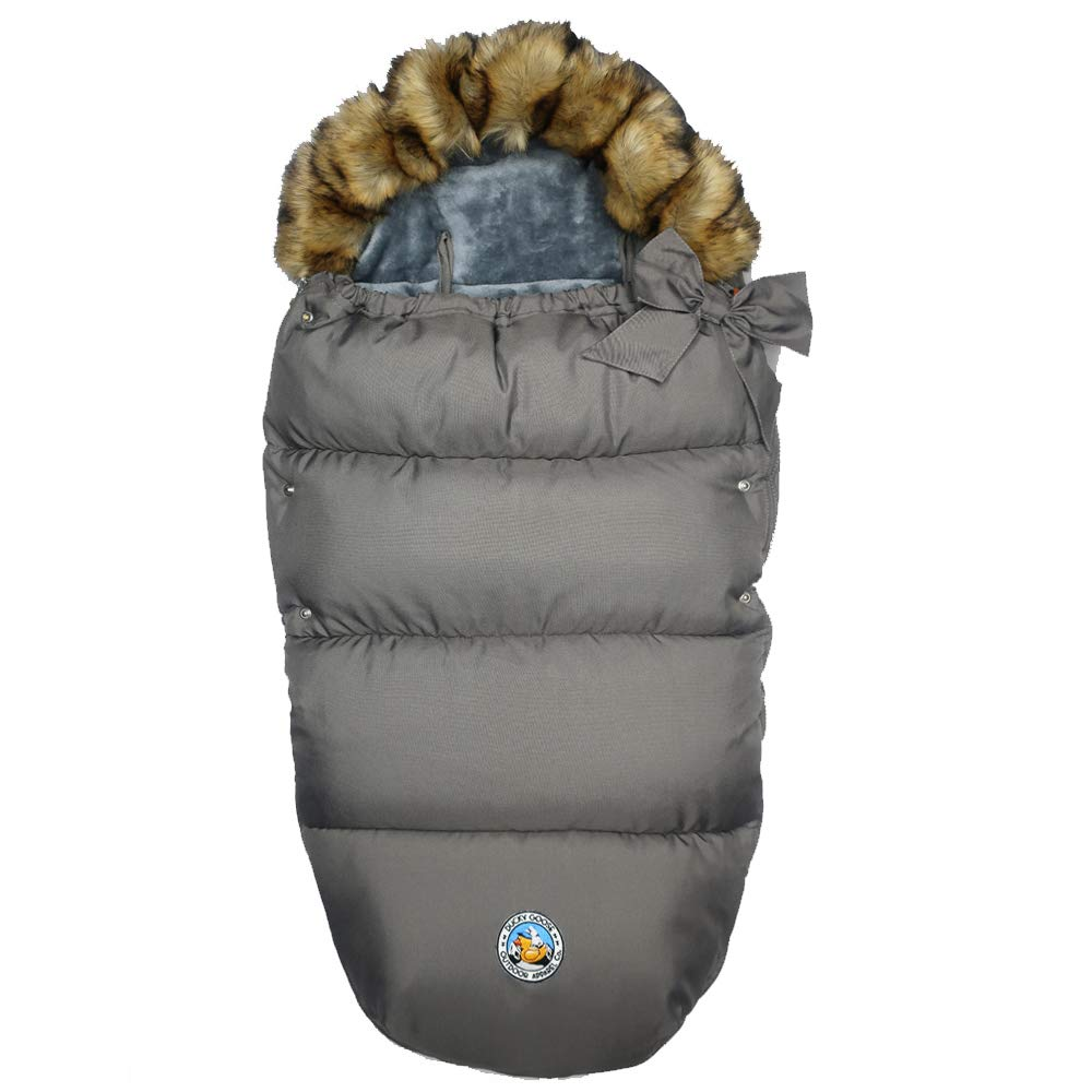 Ducky Goose Fur Trim Hooded Footmuff - One Size 0-4T - (Charcoal Grey)