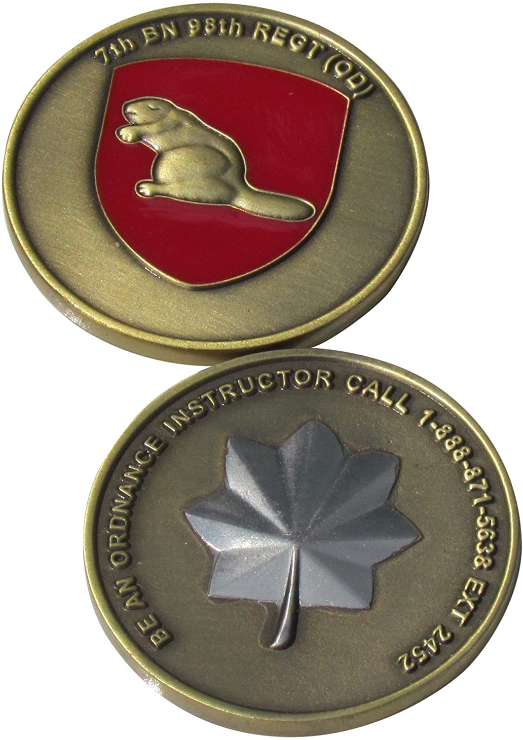 7th BN 98th Regiment OD Ordnance Instructor Challenge Coin