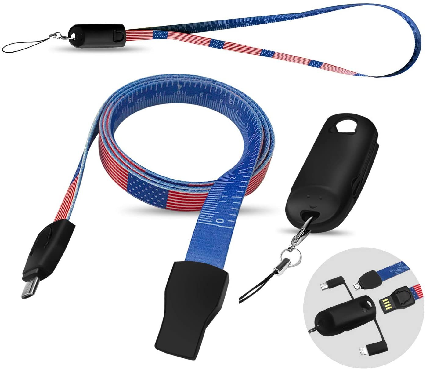Stars and Stripes Tape Measure USB Cable Badge Lanyard – ABCOOL EDC Multi Functional Phone Charging Ruler Replacement Neck ID Strap with American Flag for Office Workshop Plant School