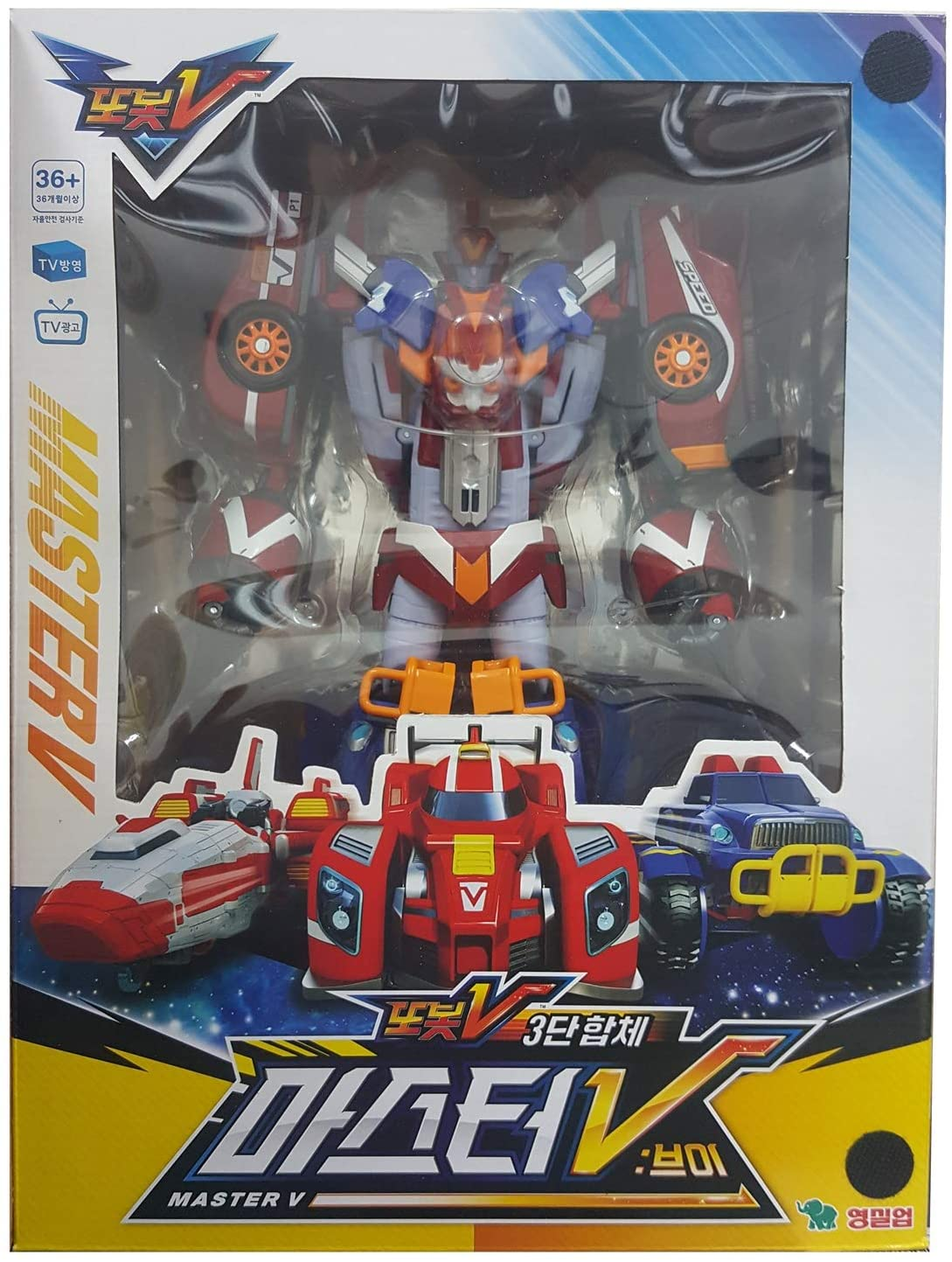 Tobot V Young Toys 3-Stage Integration Master V (Speed, Monster and Rocket) Transforming Robot Toy, Multicolored