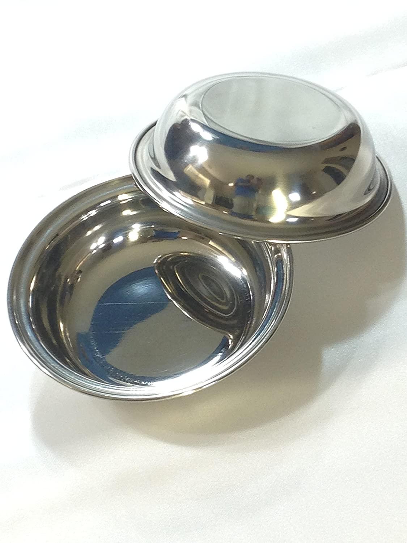 Qualways Stainless Steel 8 Oz Bowls Set of 2, Stainless Steel Toddler Dish Set (Medium)