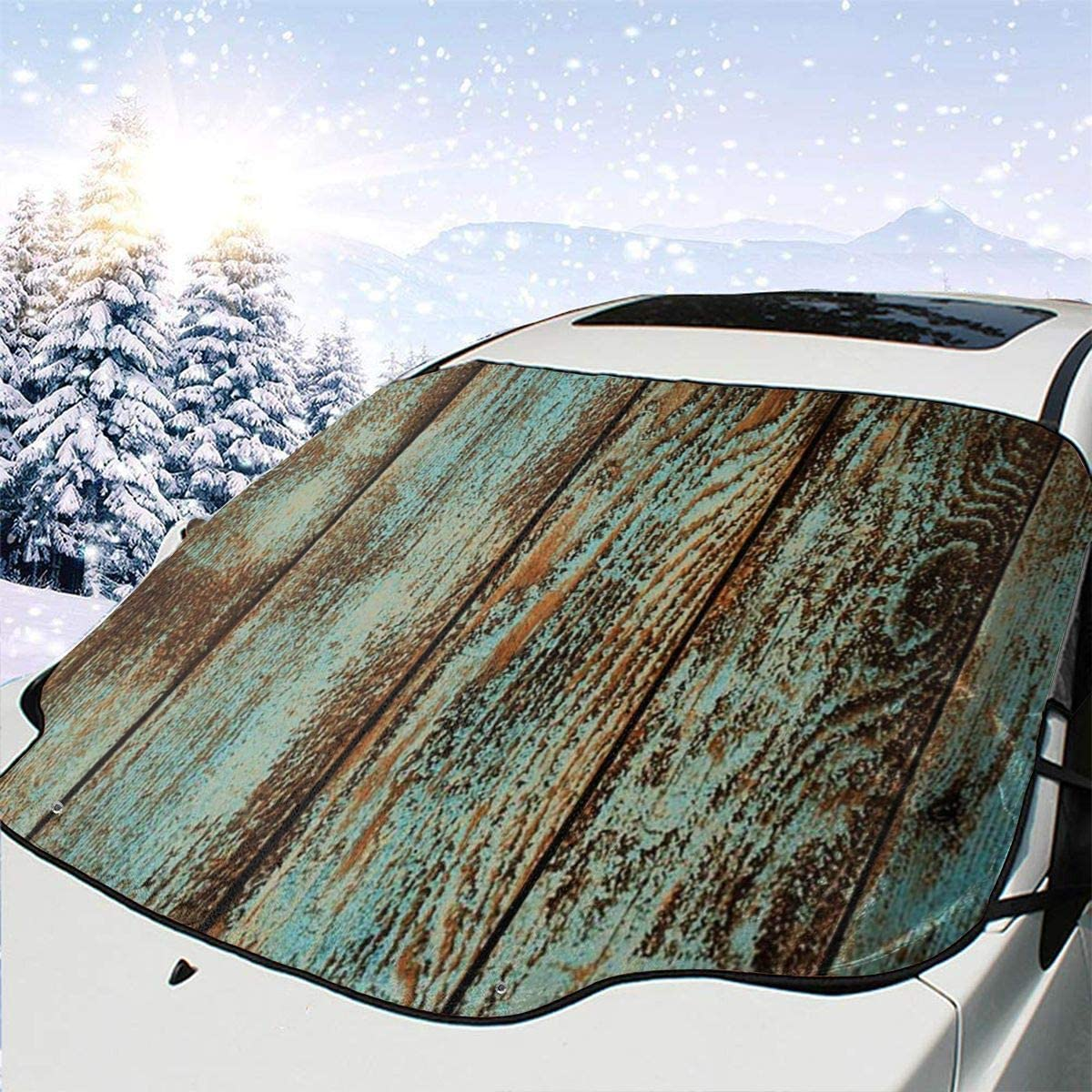 THONFIRE Car Front Window Windshield Winter Sunshade Textures Wood Cover Windproof Blocks Heat Damage Free Visor Protector Automobile Spring Heatshield