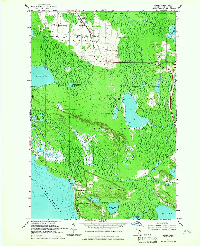 Map Print - Moran, Michigan (1964), 1:24000 Scale - 24