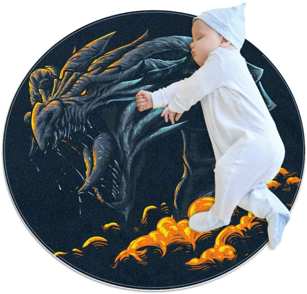 Dragon Cloud Roaring Baby Crawling mat Home Decorative Carpet Soft and Washable Pad Non-Slip for Kid's Toddler Infants Room 2feet 3.5inch