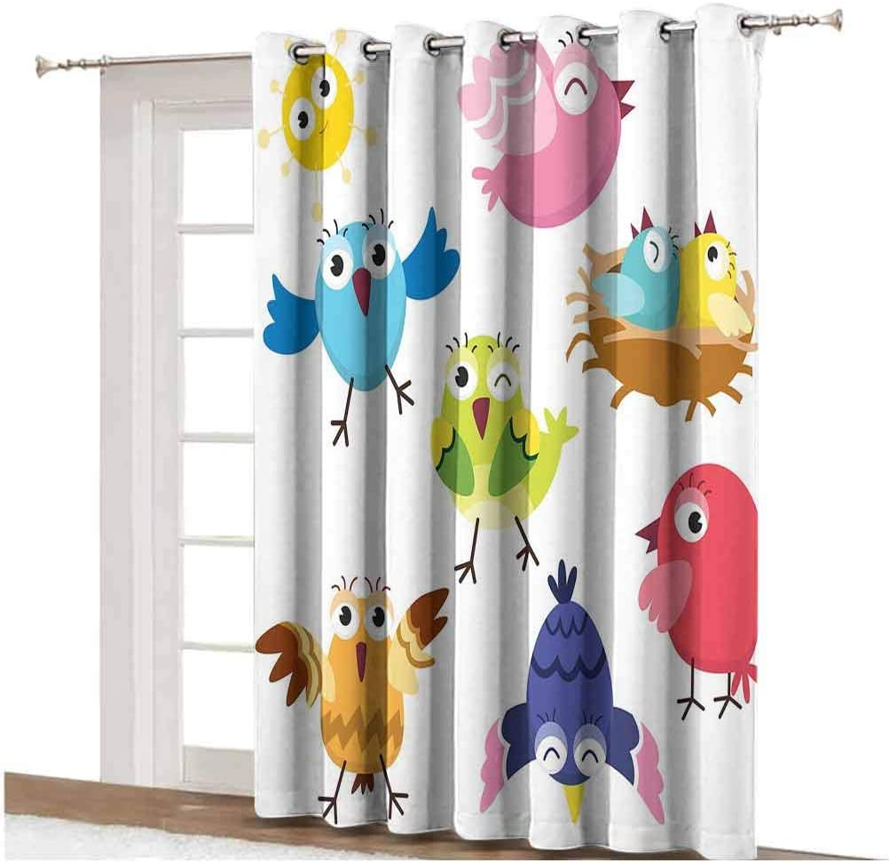 Bird Sliding Door Curtain Funny Happy Cute Colorful Birds and Sun in Cartoon Style Toddler Kids Nursery Theme Decorative Thermal Backing Sliding Glass Door Drape ,Single Panel 100x84 inch,for Sliding