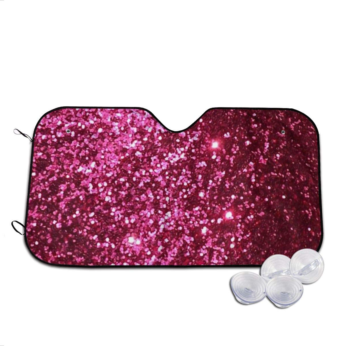 Pink Glitter Background Windshields Sun Shade 3D Printed Long Lasting