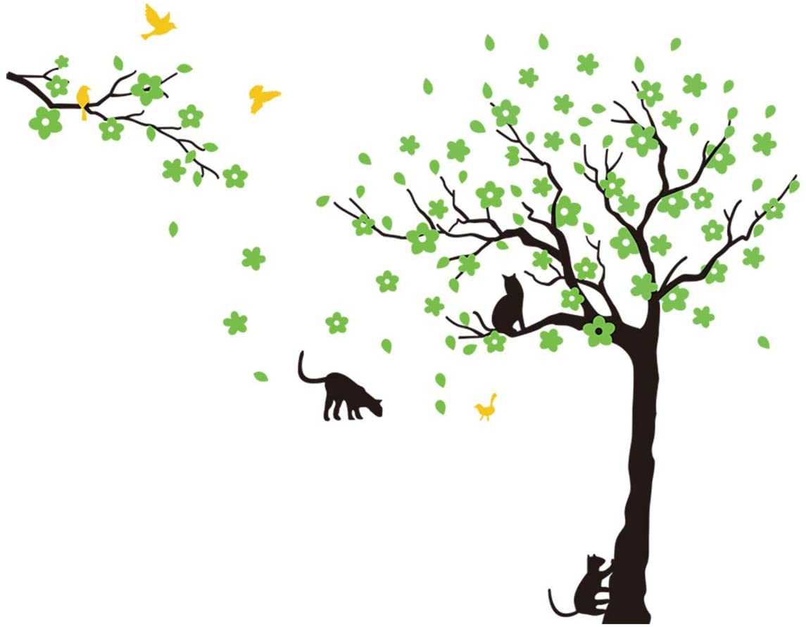 ANBER Black Tree Birds and Cats Wall Decals Removable Tree Wall Sticker Vinyl Wall Art Kids Room Living Room Bedroom Wall Decal Home Decor (Green)
