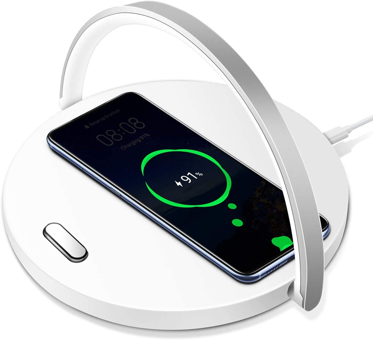 Fast Qi Wireless Charger with LED Desk Lamp, Wireless Charging Station Inductive Charger for iPhone 11/XS/MAX Galaxy S10/Note 9 Huawei P30 Pro etc, Touch Control with Type C Charging Port (White)