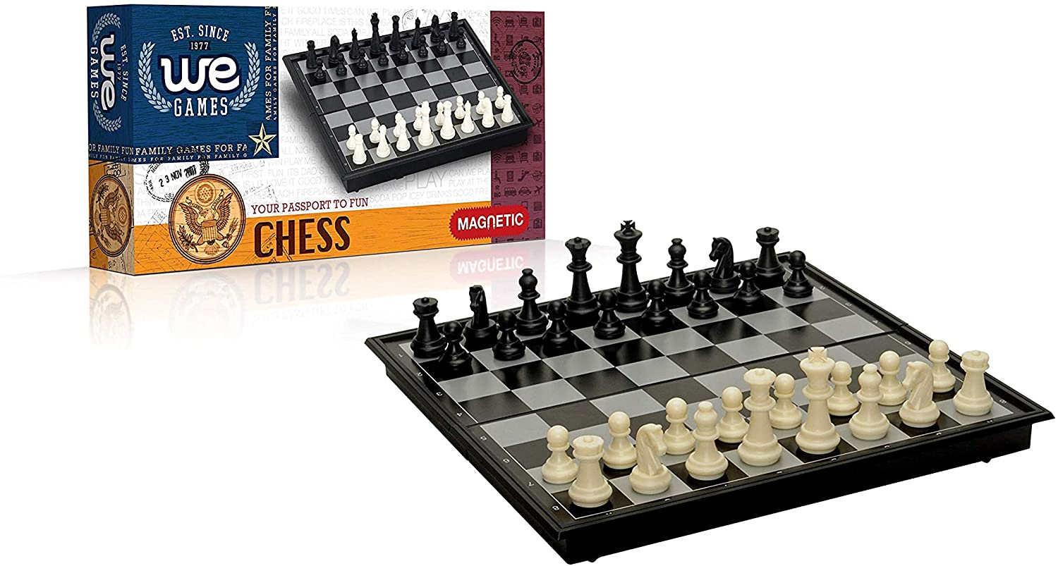 WE Games Travel Magnetic Folding Chess Set - 8 in.