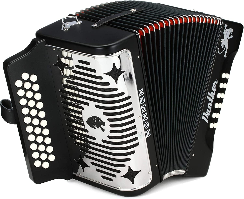 Hohner Panther Diatonic Accordion - Keys of G/C/F - Black