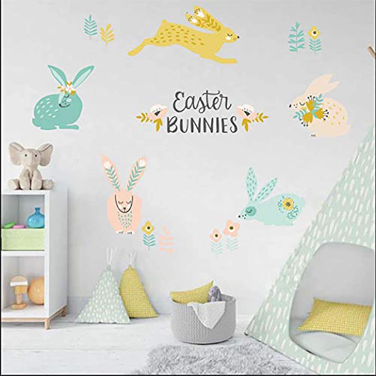 BUCKOO Easter Animal Rabbit Wall Sticker, DIY Vinyl Removable Wall Stickers,Nursery Kid Room Playroom Decor,Non-Toxic, Removable, Respositionable